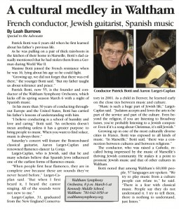 Jewish Advocate article, March 5, 2010